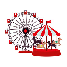 Panoramic Wheel And Carrousel Attractions