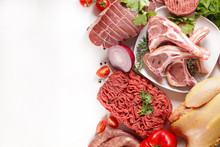 Assorted Of Raw Meats, Beef- Sausage- Chicken Isolated On White Background