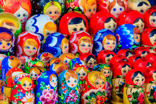 Traditional souvenirs from Russia - colorful nesting dolls, also known as matryo Canvas Print