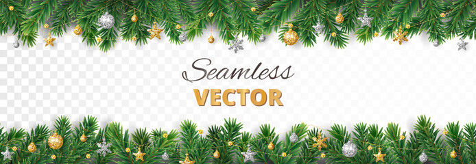 Vector Christmas decoration. Christmas tree border, frame with golden ornaments.