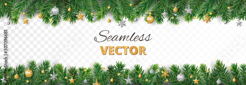 Vector Christmas decoration. Christmas tree border, frame with golden ornaments. - 307096681