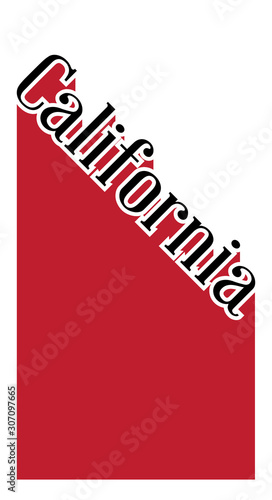 California Angled Shadow Text Canvas Print