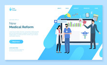 New Medical Reform Website Decorated By Man And Woman Doctors With Document, Man Character Holding Speaker, Monitor Of Laptop With Chart Report Vector. Webpage Template, Landing Page Flat Style, App