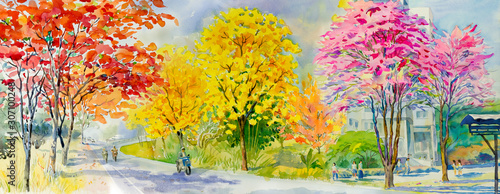 Foto auf Leinwand Orange Painting red pink yellow flower tree roadside with traveling spring.