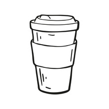Single Hand Drawn Coffee Takeaway Cup. In Doodle Style, Black Outline Isolated On A White Background. Cute Element For Card, Social Media Banner, Stickers. Vector Illustration