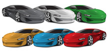 Realistic Car Sport Collection 3D On White Background Vector Illustration.
