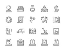 Set Of Funeral Line Icons. Chu...