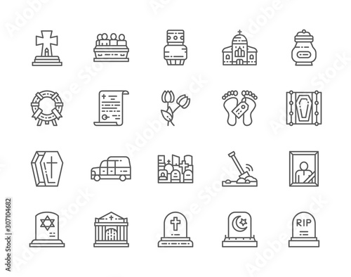 Photo Set of Funeral Line Icons