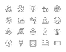 Set Of Energy Industry Line Icons. Power Plant, Solar Station, Battery And More.