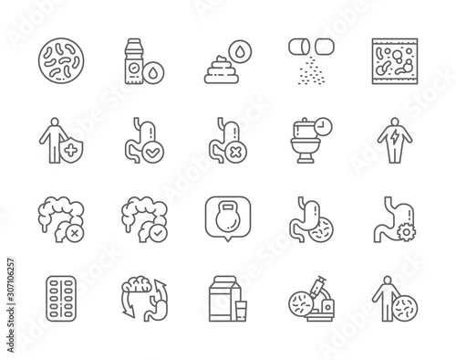 Set of Probiotic Line Icons Canvas Print