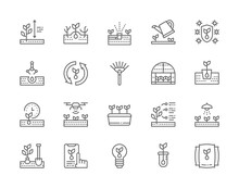 Set Of Planting Line Icons. We...
