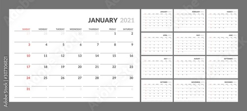 Obraz Wall calendar for 2021 year in clean minimal style. Corporate design planner template. Week Starts on Sunday. Set of 12 Months. Ready for print. - fototapety do salonu