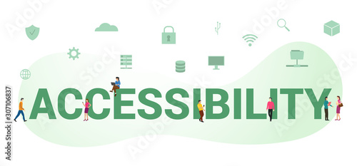 accessibility data document concept with big word or text and team people with m Wallpaper Mural