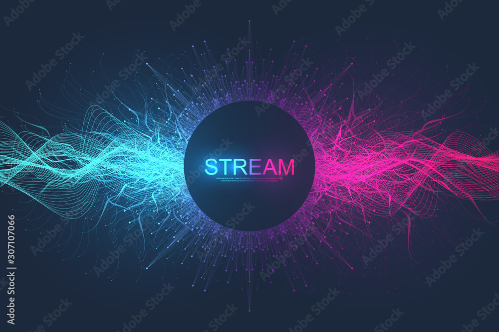 Fototapeta Abstract dynamic motion lines and dots background with colorful particles. Digital streaming background, wave flow. Plexus stream background. Big Data technology, vector illustration