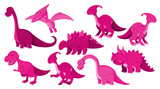 Fototapeta Dino - Large set of different types of dinosaurs in pink