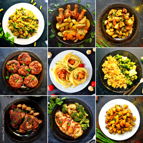 Fotografie, Tablou Collage of food in the dishes