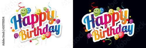 Photo Happy birthday with smiley balloons