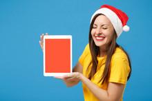 Smiling Woman Santa Girl In Ye...