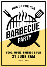 Lovely Vector Barbecue Party Invitation Design Template. Trendy BBQ Cookout Poster Design With Classic Charcoal Grill, Fork, Cooking Paddle And Sample Text.
