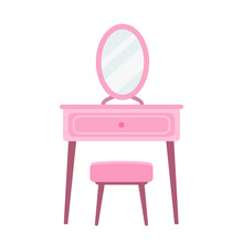 Dressing Table In Flat Style V...