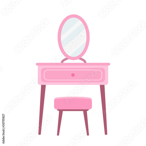 Dressing table in flat style vector illustration Canvas Print