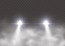 Car Headlight Effect In Fog Isolated On Transparent Background. Realistic White Round Flares Beams In Smoke. Vector Bright Train Lights Effect With Mist At Night.
