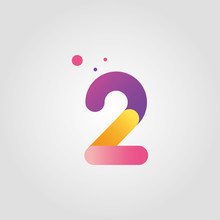 Vector Number Two Logo Design Template With Gradient Color
