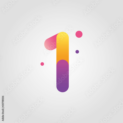 Obraz Vector number one logo design template with gradient color - fototapety do salonu