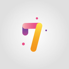 Vector Number Seven Logo Design Template With Gradient Color