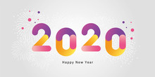 Happy New Year 2020 With Gradient Color Numbers And Fireworks