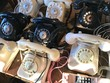 Telefon Sammlung Schwarz und Weiß mit Wählscheibe