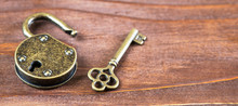 Web Banner Of  Life Coaching, Mentor, Solution Key With Opened Padlock With Copy Space