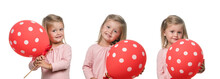 Little Girl Smiling With Red Balloon On White Background