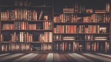 Blurred Bookshelf Many Old Boo...
