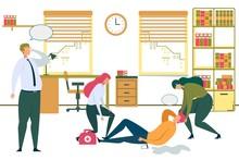 Man Lying Office Floor Businessman Call Ambulance