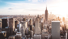 New York City Skyline Bei Sonn...