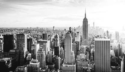 Panel Szklany Nowy York New York City Skyline in schwarz weiß