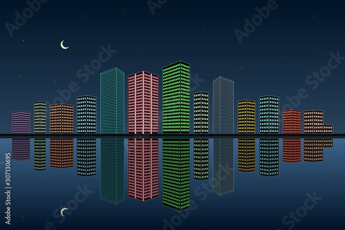 Neon lights of big city. Reflection in water. Vector illustration.