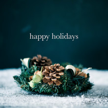 Christmas Wreath And Text Happy Holidays