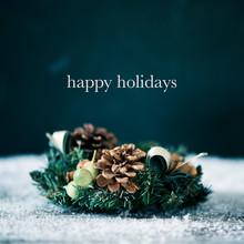 Christmas Wreath And Text Happ...