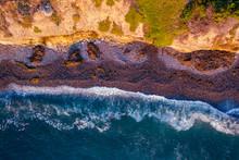 Ocean Waves Crashing On A California Beach Overhead Aerial Image