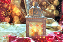 Lantern In Colorful Textile In...