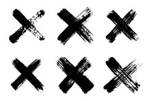 Hand Drawn Set Of Cross Brush ...