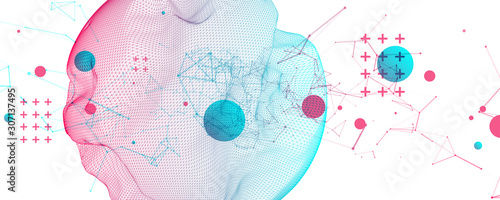 Obraz Abstract sphere background with plexus effect. 3D surface. - fototapety do salonu