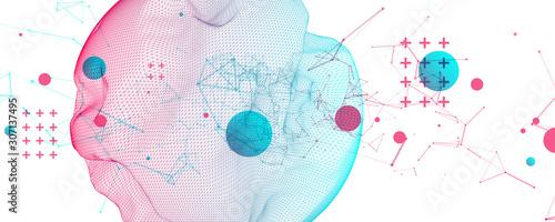 Papiers peints Comics Abstract sphere background with plexus effect. 3D surface.