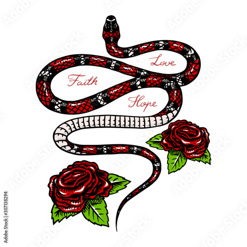 Milk snake with flowers in Vintage style. Serpent cobra or python or poisonous viper. Engraved hand drawn old reptile sketch for Tattoo. Anaconda for sticker or logo or t-shirts. Wall mural