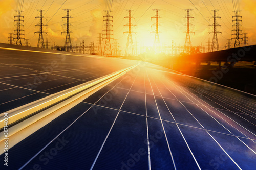 Alternative energy for energy conservation of the world (Solar panels with power Wallpaper Mural