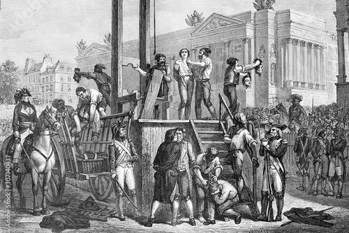 Obraz na plátně Execution by guillotine of Maximilien Robespierre (born 1758, died 1794), and Louis Antoine de Saint-Just (born 1767, died 1794)