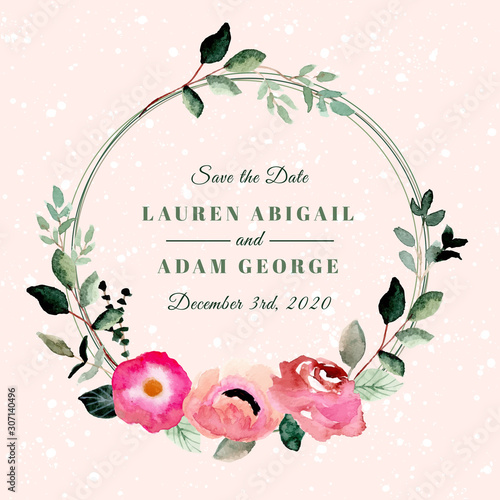 Photo save the date with beautiful floral wreath watercolor