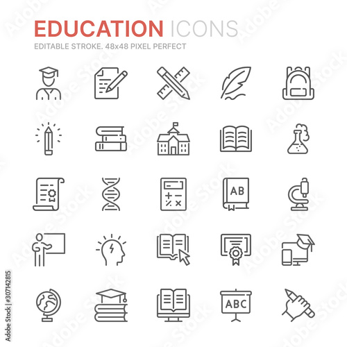 Collection of education related line icons Canvas Print